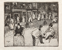 Reinhold Nägele (1884–1972), Scena uliczna wRotterdamie, 1911, akwaforta