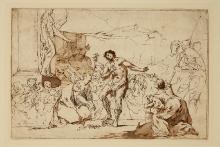 Giambattista Tiepolo (1696–1770), Męczeństwo św. Hipolita, nie datowany rysunek piórem wtuszu, lawowany
