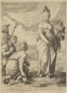 Jan Pietersz. Saenredam (1565/66–1607), Hołd Ceres, 1596, miedzioryt