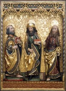 Tryptyk św. Jakuba Apostoła z Kołobrzegu, szafa środkowa, Mistrz Pasji Chociwelskiej, ok. 1500, drewno lipowe, polichromia, fot. G. Solecki