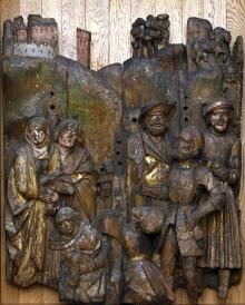 Ołtarz z Wkryujścia, kwatera ze sceną Ukrzyżowania, warsztat zachodniopomorski,  , ok. 1510, drewno dębowe, resztki polichromii, 130 x 107,5 cm, fot. G. Solecki