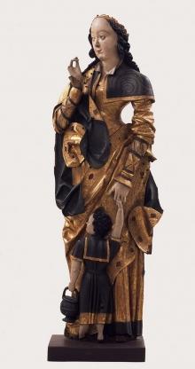 Święta Dorota, z ołtarza z kościoła św. Gertrudy ze Szczecina, warsztat Mistrza Tryptyku ś.ś. Piotra i Pawła w Szczecinie, ok. 1520–1530, drewno lipowe, polichromia, wys. 116 cm, fot. G. Solecki
