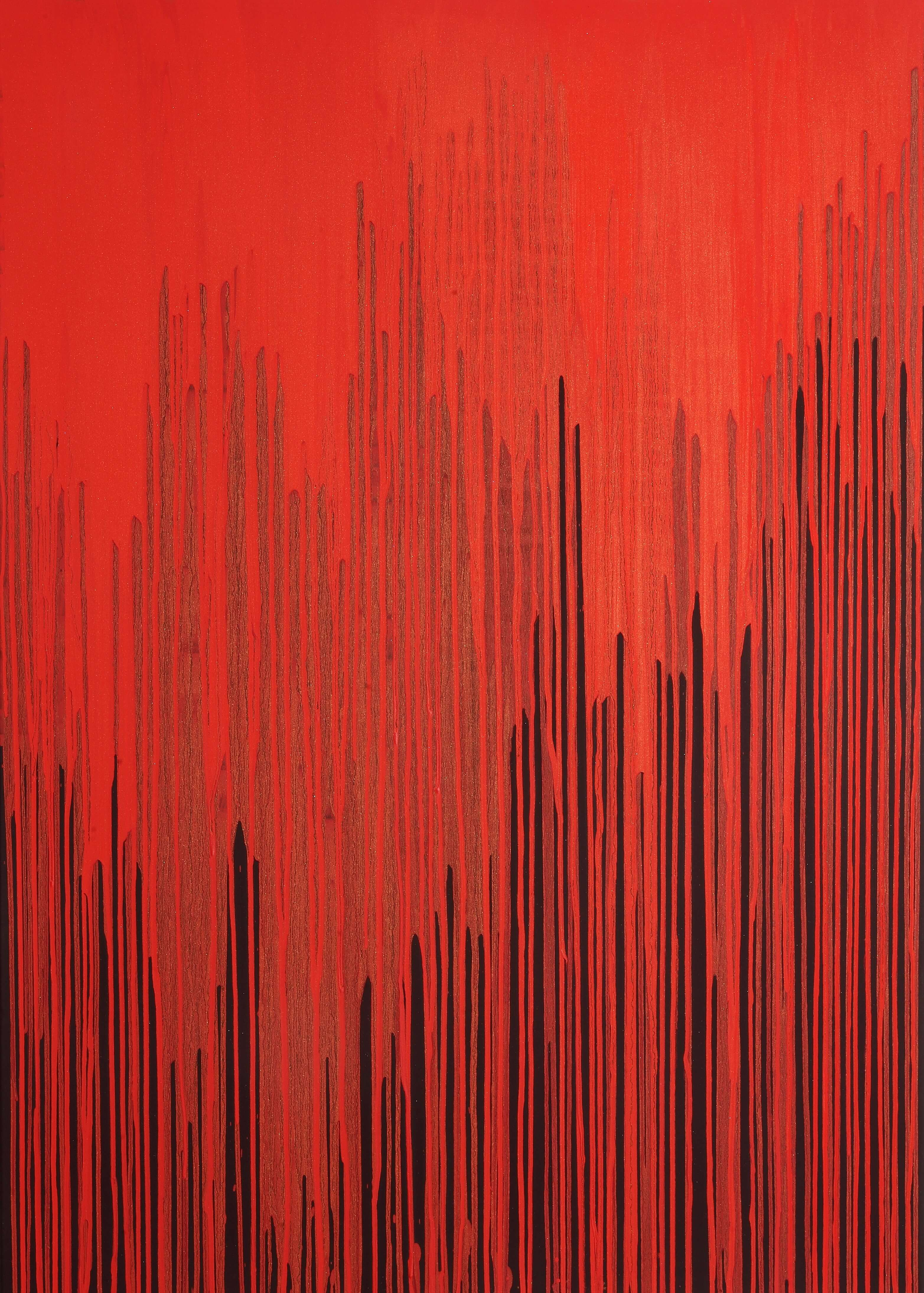 Joanna Borkowska Frequencies Red 2013 oil and gold pigment on cancas 100 x 140 cm